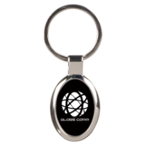 Black Oval Metal Keychain
