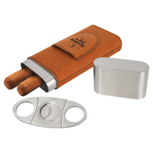 Rawhide Leatherette Wrapped Stainless Steel Cigar Case with Cutter