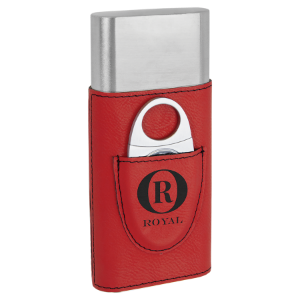Red Laserable Leatherette Cigar Case with Cutter