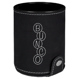 Black & Silver Leatherette Dice Cup with 5 Dice