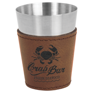 2 oz. Dark Brown Leatherette Wrapped Stainless Steel Shot Glass