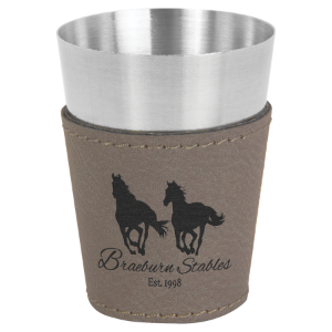 2 oz. Gray Leatherette Wrapped Stainless Steel Shot Glass