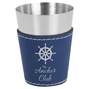 2 oz. Blue & Silver Leatherette Wrapped Stainless Steel Shot Glass