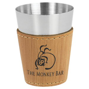 2 oz. Bamboo Leatherette Wrapped Stainless Steel Shot Glass