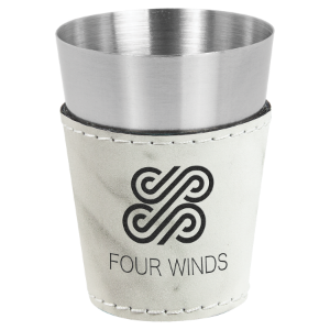 White Marble Leatherette Wrapped Stainless Steel Shot Glass