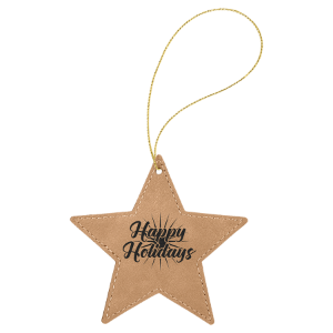 Light Brown Leatherette Star Ornament with Gold String double-sided