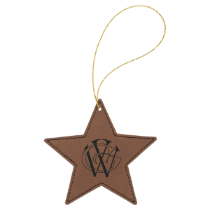 Dark Brown Leatherette Star Ornament with Silver String double-sided