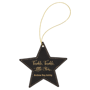 Black & Gold Leatherette Star Ornament with Gold String double-sided