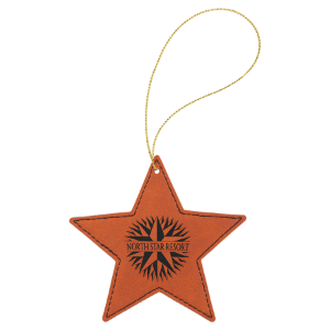 Rawhide Leatherette Star Ornament with Gold String double-sided