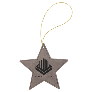 Gray Leatherette Star Ornament with Gold String double-sided