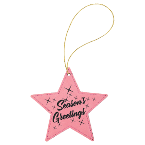 Pink Leatherette Star Ornament with Gold String double-sided