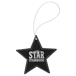 Black & Silver Leatherette Star Ornament with Silver String double-sided