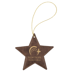 Rustic & Gold Leatherette Star Ornament with Gold String double-sided