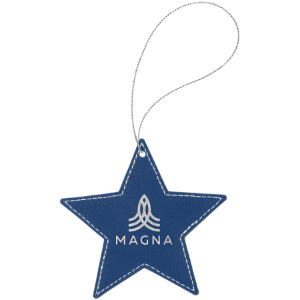 Blue/Silver Laserable Leatherette Star Ornament with Silver String