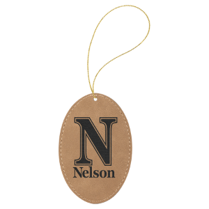 Light Brown Leatherette Oval Ornament with Gold String double-sided