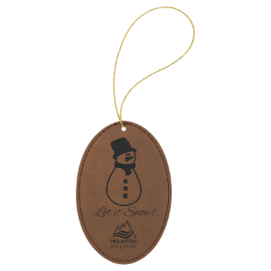 Dark Brown Leatherette Oval Ornament with Gold String double-sided