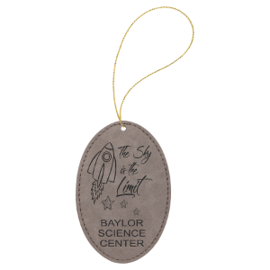 Gray Leatherette Oval Ornament with Gold String double-sided