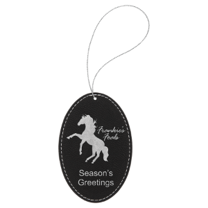 Black & Silver Leatherette Oval Ornament with Gold String double-sided