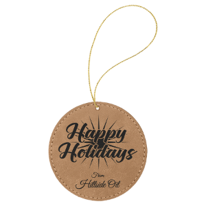 Light Brown Leatherette Round Ornament with Gold String double-sided