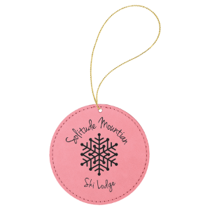 Pink Leatherette Round Ornament with Silver String double-sided