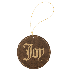 Rustic & Gold Leatherette Round Ornament with Gold String double-sided