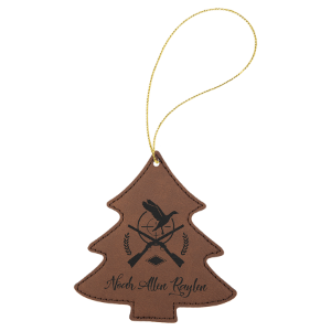 Dark Brown Leatherette Tree Ornament with Gold String double-sided