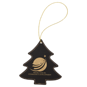 Black & Gold Leatherette Tree Ornament with Gold String double-sided