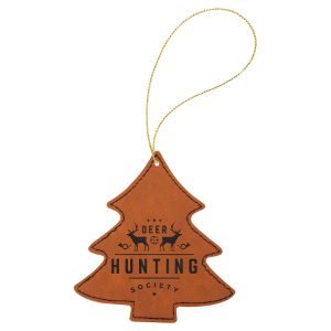 Rawhide Leatherette Tree Ornament with Silver String double-sided