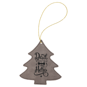 Gray Leatherette Tree Ornament with Gold String double-sided