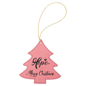 Pink Leatherette Tree Ornament with Silver String double-sided