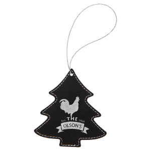 Black & Silver Leatherette Tree Ornament with Silver String double-sided