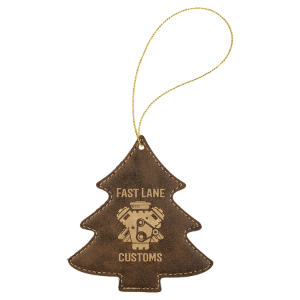 Rustic & Gold Leatherette Tree Ornament with Gold String double-sided