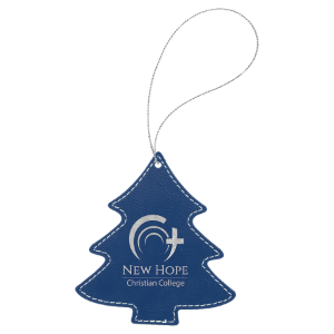 Blue/Silver Laserable Leatherette Round Ornament with Silver String