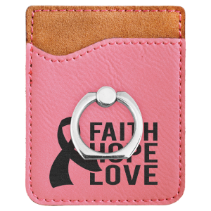 Pink Leatherette Cell Phone Wallet with Silver Ring