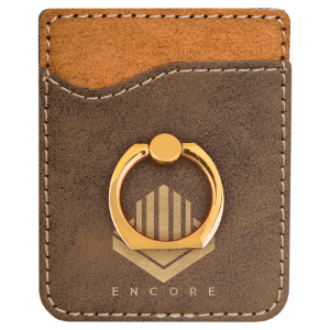 Rustic & Gold Leatherette Cell Phone Wallet with Gold Ring