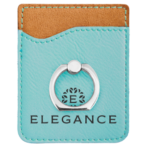 Teal Leatherette Cell Phone Wallet with Silver Ring
