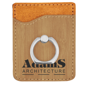 Bamboo Leatherette Cell Phone Wallet with Silver Ring