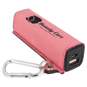 Pink Leatherette 200 mAh Power Bank with USB Cord
