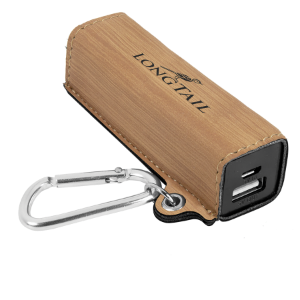 Bamboo Leatherette 200 mAh Power Bank with USB Cord