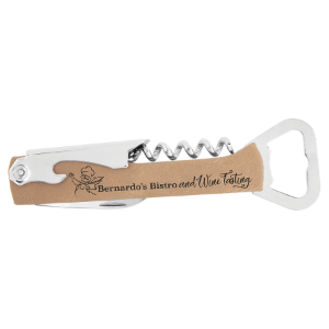 Light Brown Leatherette Corkscrew Bottle Opener