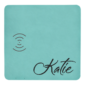 Teal Lasered Leatherette Wireless Phone Charging Mat
