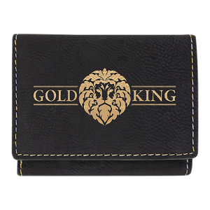 Black/Gold Leatherette Trifold Wallet