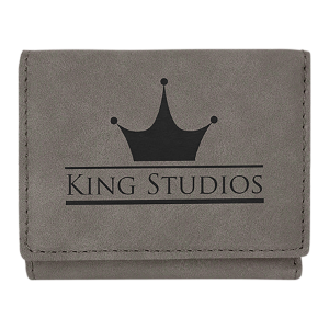 Gray Leatherette Trifold Wallet