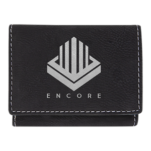 Black/Silver Leatherette Trifold Wallet