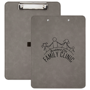 Gray Laserable Leatherette Clip Boards