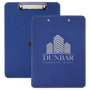 Blue/Silver Laserable Leatherette Clip Boards