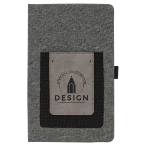 Gray with Gray Canvas Journal with Leatherette Phone Pouch