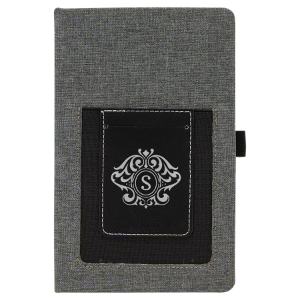 Gray with Black/Silver Canvas Journal with Leatherette Phone Pouch