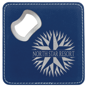 Blue/Silver Lasered Leatherette Coaster with Bottle Opener