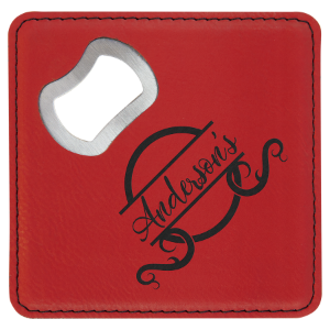 Square Red Laserable Leatherette Bottle Opener Coaster